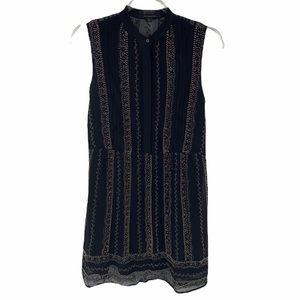 All Saints Hand Beaded Black Sleeveless Dress sz 0